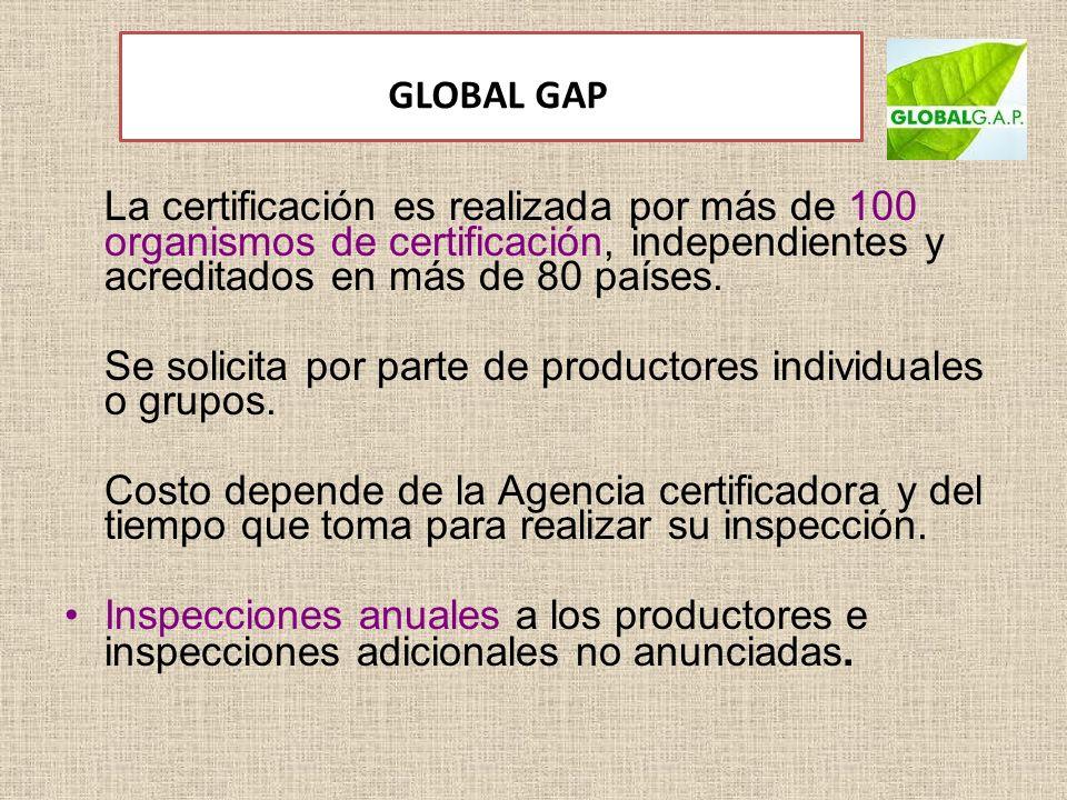 GLOBAL GAP La certificación es realizada por más de 100 organismos de certificación, independientes y acreditados en más de 80 países. Se solicita por