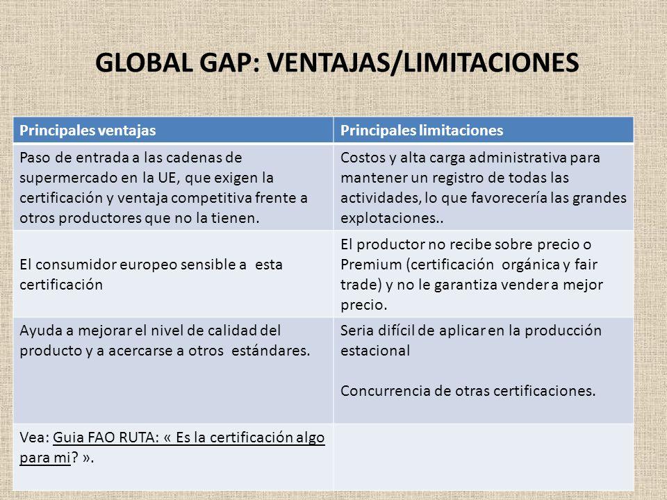 GLOBAL GAP: VENTAJAS/LIMITACIONES Principales ventajasPrincipales limitaciones Paso de entrada a las cadenas de supermercado en la UE, que exigen la c