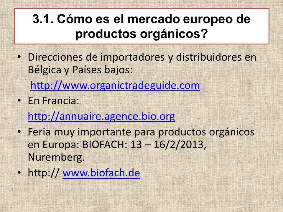3.1. Cómo es el mercado europeo de productos orgánicos? Direcciones de importadores y distribuidores en Bélgica y Países bajos: http://www.organictrad