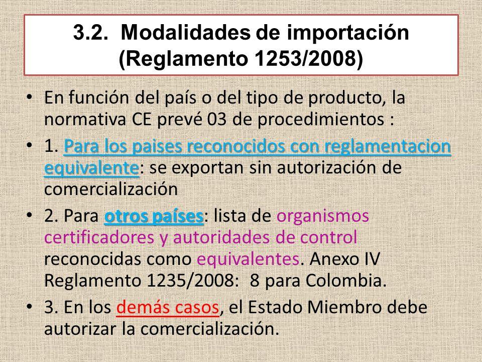 3.2. Modalidades de importación (Reglamento 1253/2008) En función del país o del tipo de producto, la normativa CE prevé 03 de procedimientos : Para l