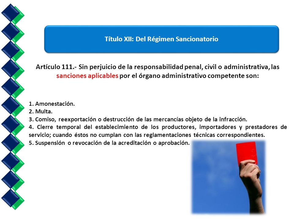 Artículo 111.- Sin perjuicio de la responsabilidad penal, civil o administrativa, las sanciones aplicables por el órgano administrativo competente son