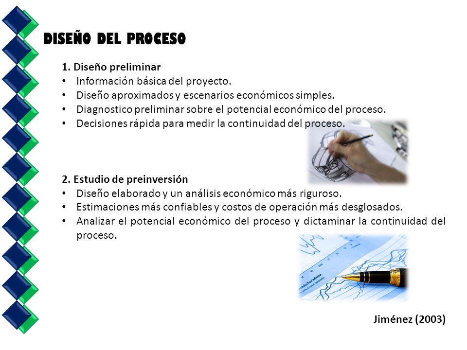 1. Diseño preliminar Información básica del proyecto. Diseño aproximados y escenarios económicos simples. Diagnostico preliminar sobre el potencial ec