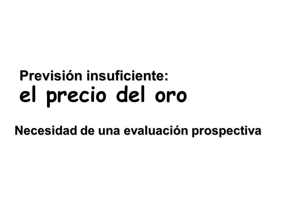 Previsión insuficiente: el precio del oro Necesidad de una evaluación prospectiva