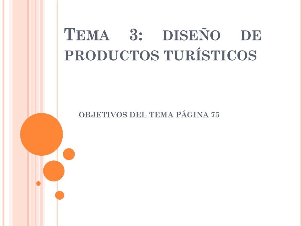 T EMA 3: DISEÑO DE PRODUCTOS TURÍSTICOS OBJETIVOS DEL TEMA PÁGINA 75