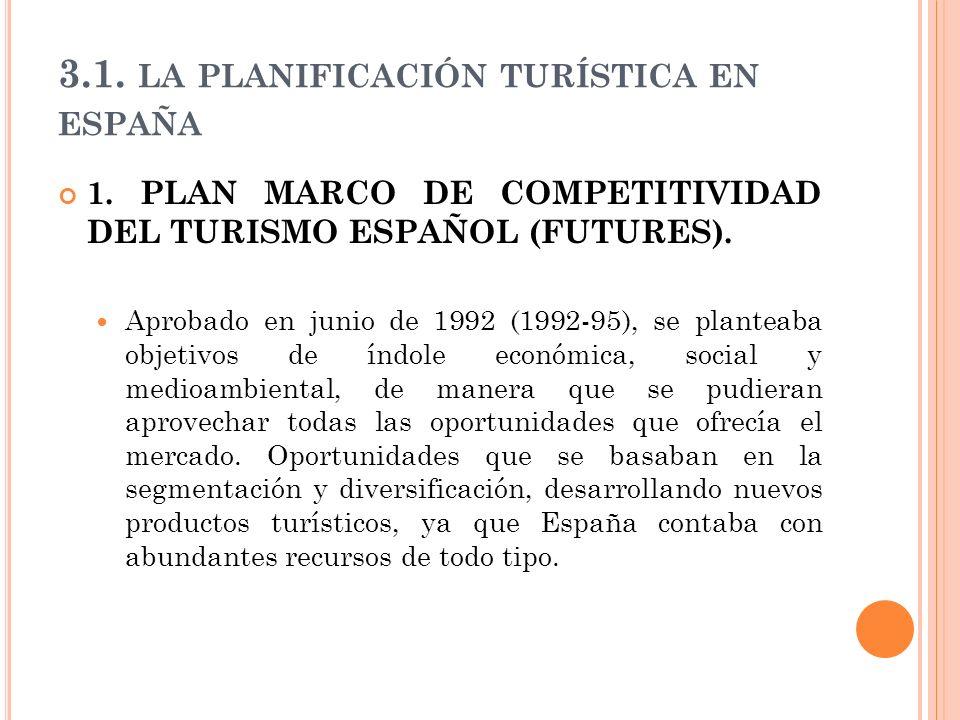 3.1. LA PLANIFICACIÓN TURÍSTICA EN ESPAÑA 1. PLAN MARCO DE COMPETITIVIDAD DEL TURISMO ESPAÑOL (FUTURES). Aprobado en junio de 1992 (1992-95), se plant