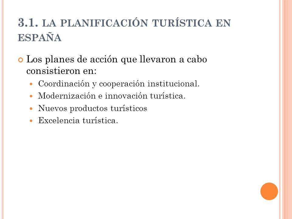 3.1. LA PLANIFICACIÓN TURÍSTICA EN ESPAÑA Los planes de acción que llevaron a cabo consistieron en: Coordinación y cooperación institucional. Moderniz