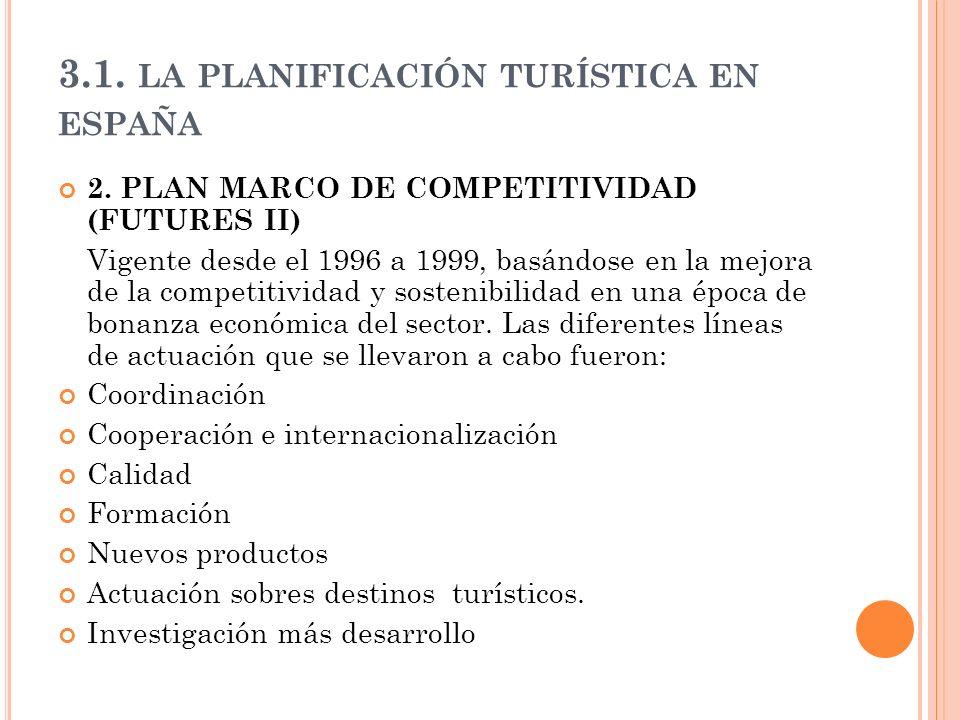 3.1. LA PLANIFICACIÓN TURÍSTICA EN ESPAÑA 2. PLAN MARCO DE COMPETITIVIDAD (FUTURES II) Vigente desde el 1996 a 1999, basándose en la mejora de la comp
