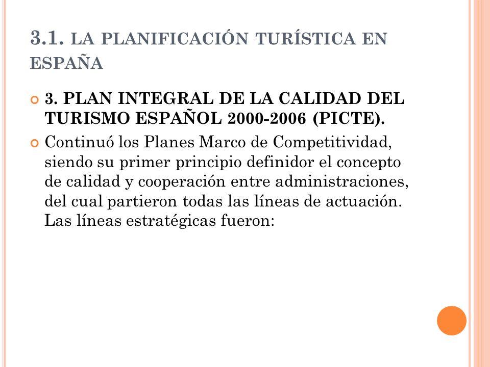 3.1. LA PLANIFICACIÓN TURÍSTICA EN ESPAÑA 3. PLAN INTEGRAL DE LA CALIDAD DEL TURISMO ESPAÑOL 2000-2006 (PICTE). Continuó los Planes Marco de Competiti