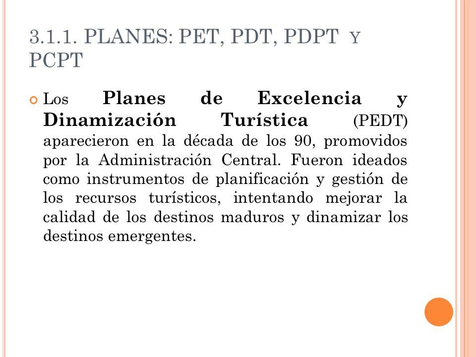 3.1.1. PLANES: PET, PDT, PDPT Y PCPT Los Planes de Excelencia y Dinamización Turística (PEDT) aparecieron en la década de los 90, promovidos por la Ad