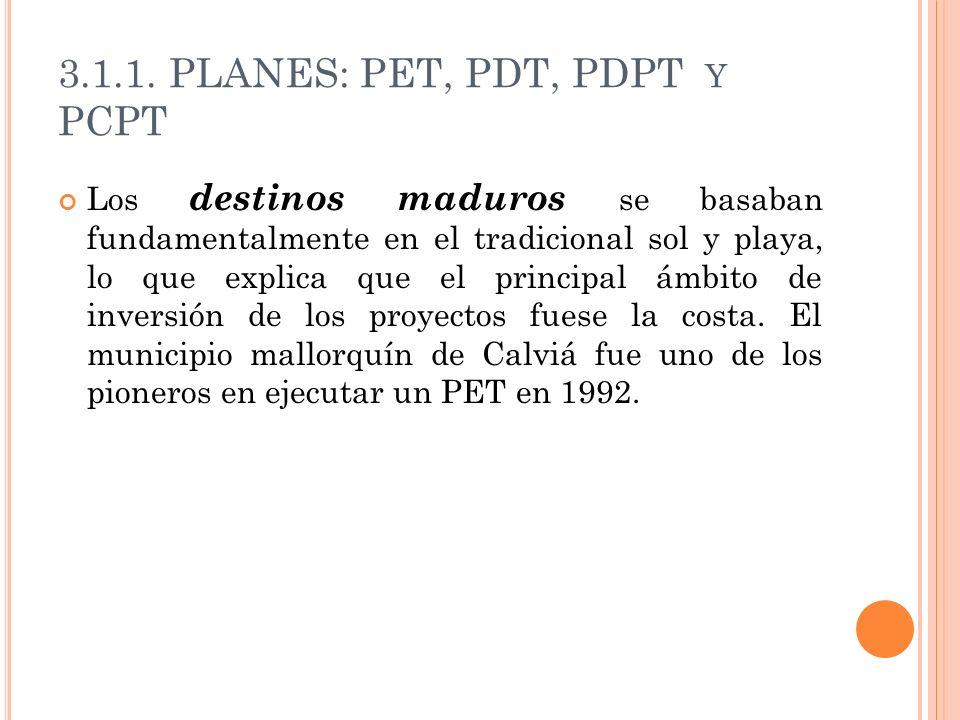 3.1.1. PLANES: PET, PDT, PDPT Y PCPT Los destinos maduros se basaban fundamentalmente en el tradicional sol y playa, lo que explica que el principal á