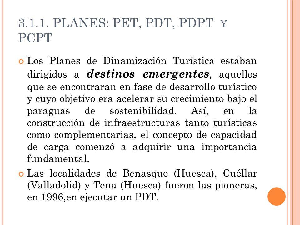 3.1.1. PLANES: PET, PDT, PDPT Y PCPT Los Planes de Dinamización Turística estaban dirigidos a destinos emergentes, aquellos que se encontraran en fase