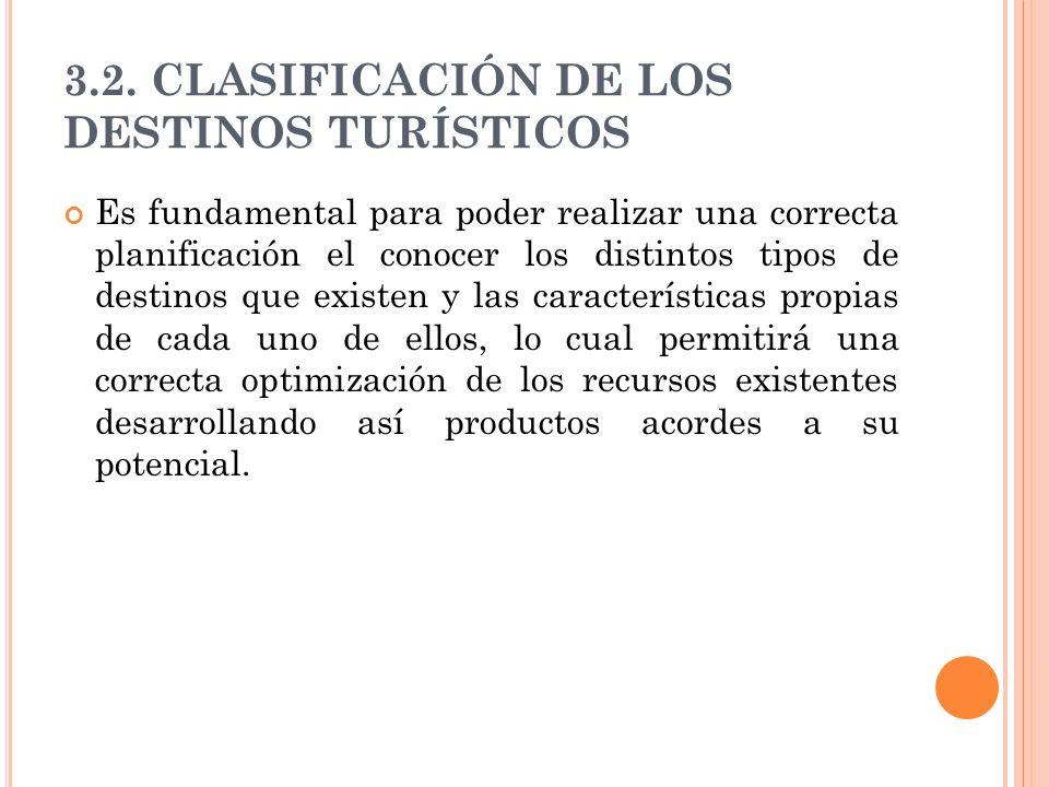 3.2. CLASIFICACIÓN DE LOS DESTINOS TURÍSTICOS Es fundamental para poder realizar una correcta planificación el conocer los distintos tipos de destinos