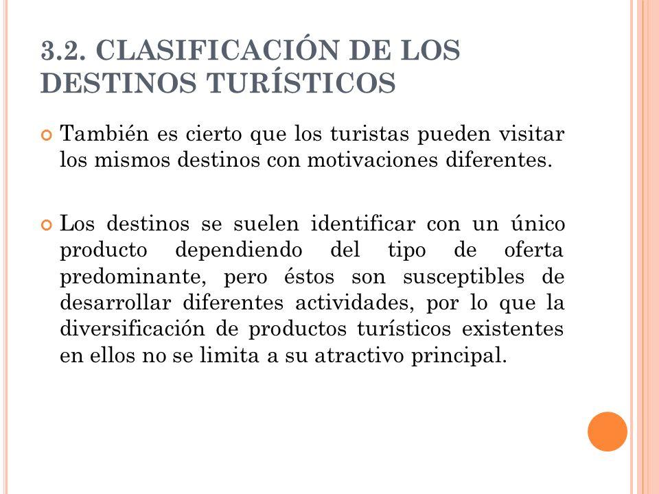 3.2. CLASIFICACIÓN DE LOS DESTINOS TURÍSTICOS También es cierto que los turistas pueden visitar los mismos destinos con motivaciones diferentes. Los d
