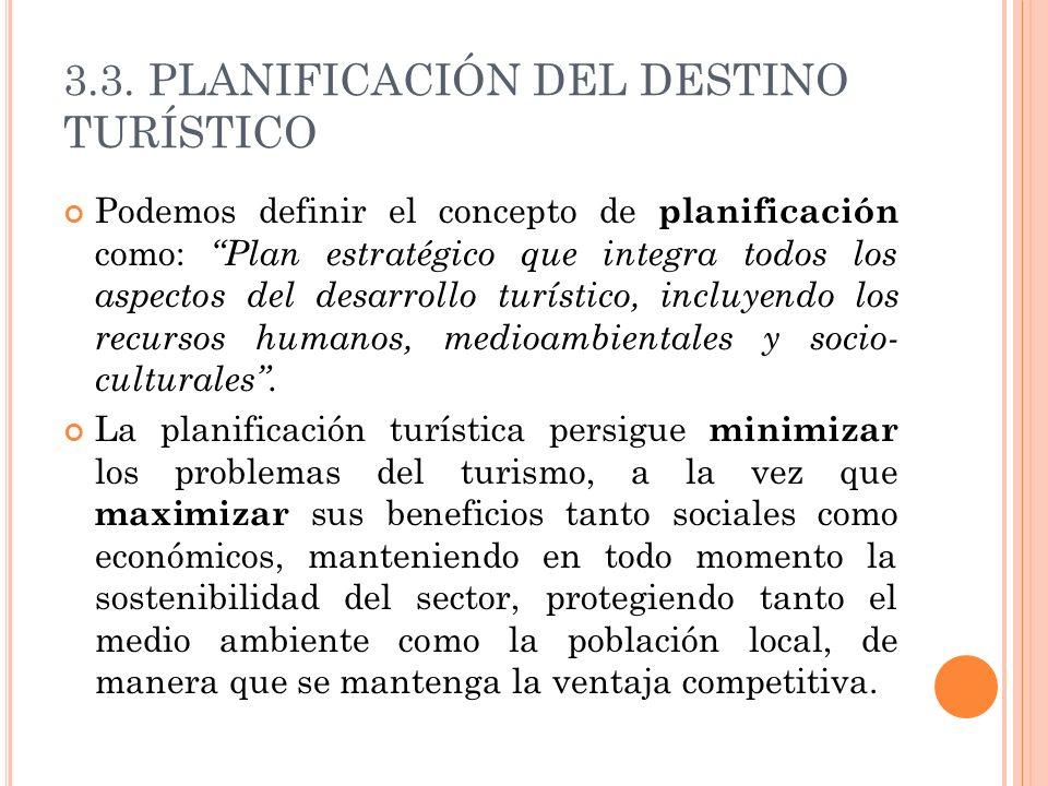 3.3. PLANIFICACIÓN DEL DESTINO TURÍSTICO Podemos definir el concepto de planificación como: Plan estratégico que integra todos los aspectos del desarr