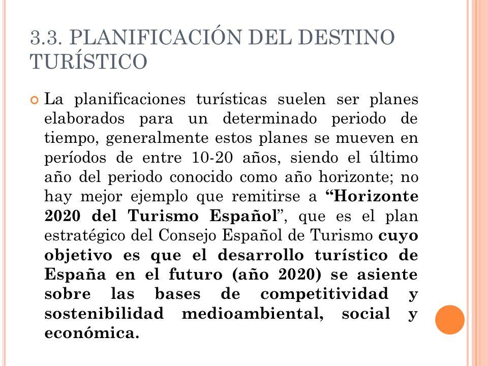 3.3. PLANIFICACIÓN DEL DESTINO TURÍSTICO La planificaciones turísticas suelen ser planes elaborados para un determinado periodo de tiempo, generalment