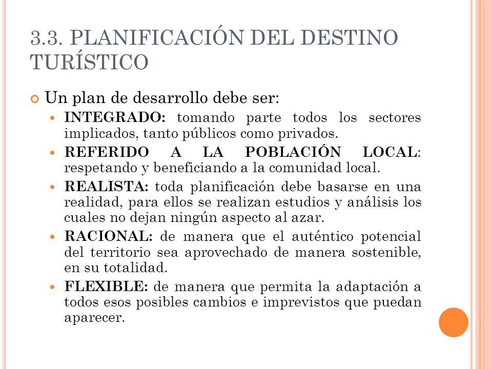 3.3. PLANIFICACIÓN DEL DESTINO TURÍSTICO Un plan de desarrollo debe ser: INTEGRADO: tomando parte todos los sectores implicados, tanto públicos como p