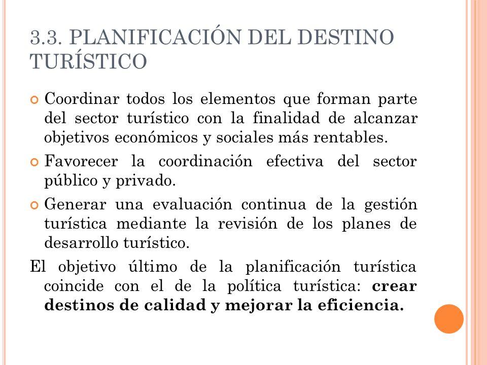 3.3. PLANIFICACIÓN DEL DESTINO TURÍSTICO Coordinar todos los elementos que forman parte del sector turístico con la finalidad de alcanzar objetivos ec