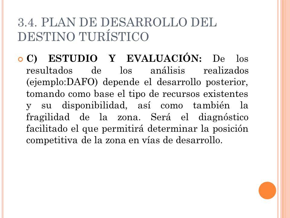 3.4. PLAN DE DESARROLLO DEL DESTINO TURÍSTICO C) ESTUDIO Y EVALUACIÓN: De los resultados de los análisis realizados (ejemplo:DAFO) depende el desarrol