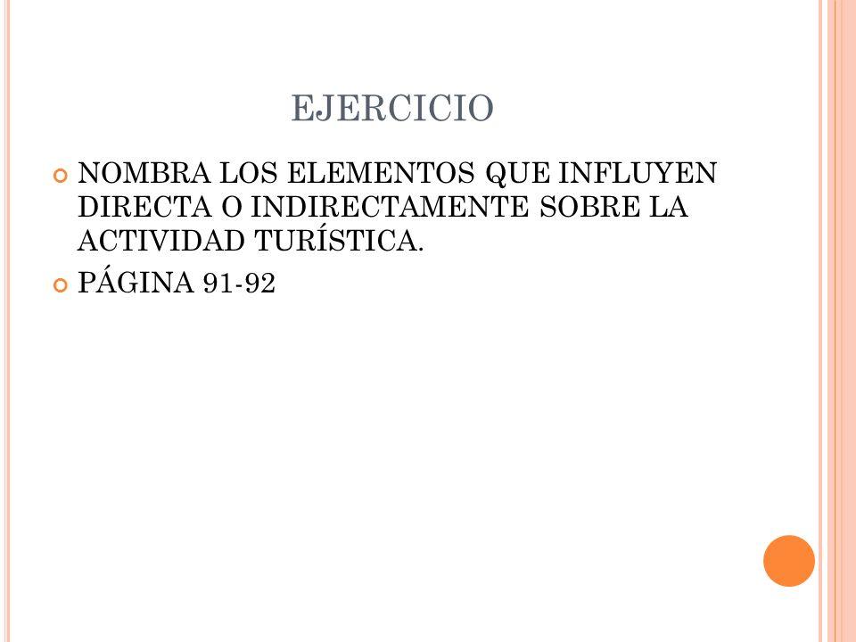 EJERCICIO NOMBRA LOS ELEMENTOS QUE INFLUYEN DIRECTA O INDIRECTAMENTE SOBRE LA ACTIVIDAD TURÍSTICA. PÁGINA 91-92