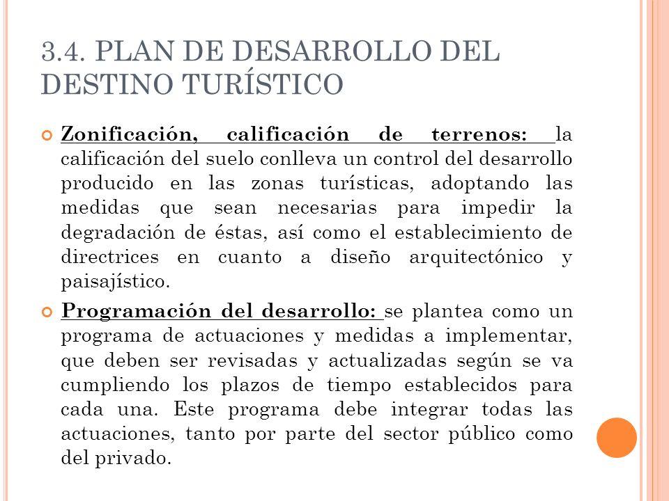 3.4. PLAN DE DESARROLLO DEL DESTINO TURÍSTICO Zonificación, calificación de terrenos: la calificación del suelo conlleva un control del desarrollo pro