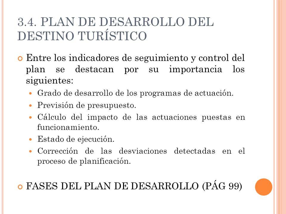 3.4. PLAN DE DESARROLLO DEL DESTINO TURÍSTICO Entre los indicadores de seguimiento y control del plan se destacan por su importancia los siguientes: G