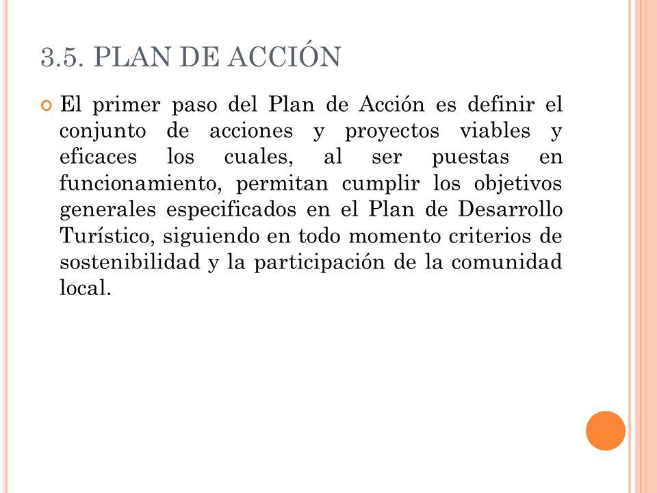3.5. PLAN DE ACCIÓN El primer paso del Plan de Acción es definir el conjunto de acciones y proyectos viables y eficaces los cuales, al ser puestas en