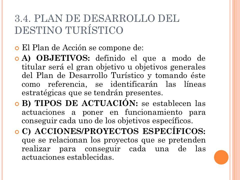 3.4. PLAN DE DESARROLLO DEL DESTINO TURÍSTICO El Plan de Acción se compone de: A) OBJETIVOS: definido el que a modo de titular será el gran objetivo u