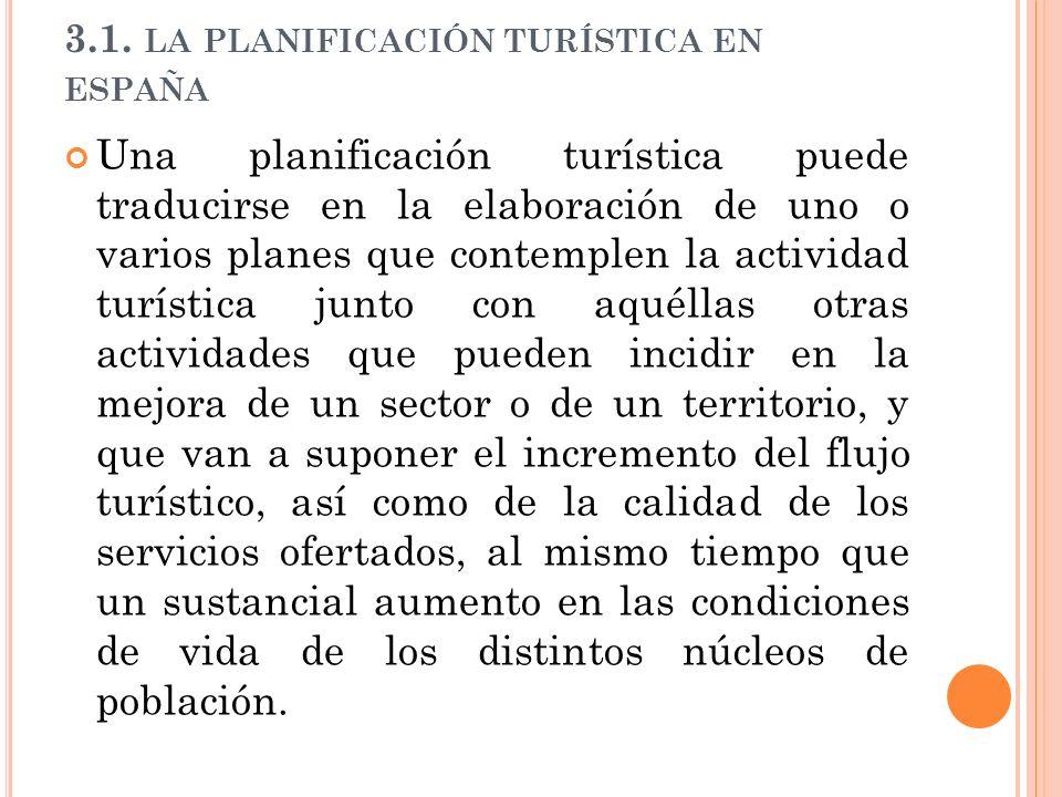 3.1. LA PLANIFICACIÓN TURÍSTICA EN ESPAÑA Una planificación turística puede traducirse en la elaboración de uno o varios planes que contemplen la acti