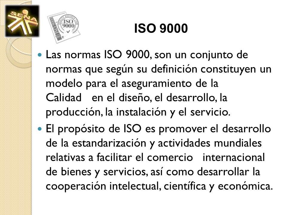 ISO 9000 Las normas ISO 9000, son un conjunto de normas que según su definición constituyen un modelo para el aseguramiento de la Calidad en el diseño