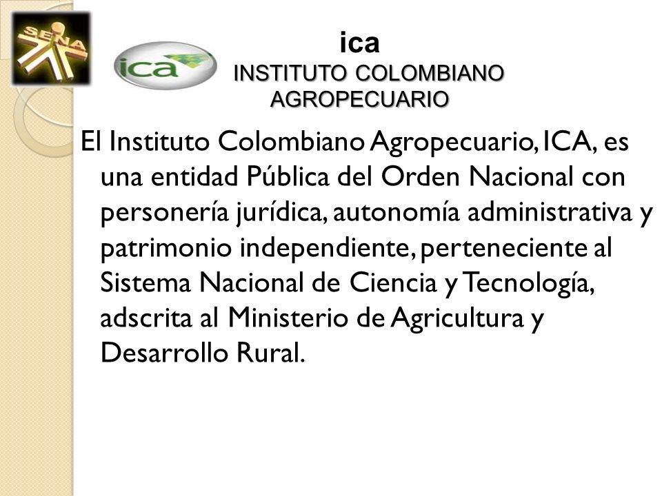 INSTITUTO COLOMBIANO AGROPECUARIO ica INSTITUTO COLOMBIANO AGROPECUARIO El Instituto Colombiano Agropecuario, ICA, es una entidad Pública del Orden Na
