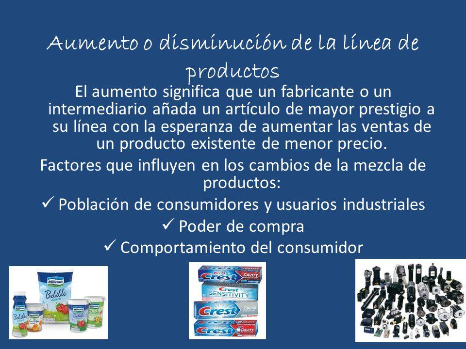 Aumento o disminución de la línea de productos El aumento significa que un fabricante o un intermediario añada un artículo de mayor prestigio a su lín