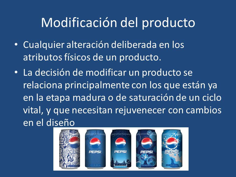 Modificación del producto Cualquier alteración deliberada en los atributos físicos de un producto. La decisión de modificar un producto se relaciona p