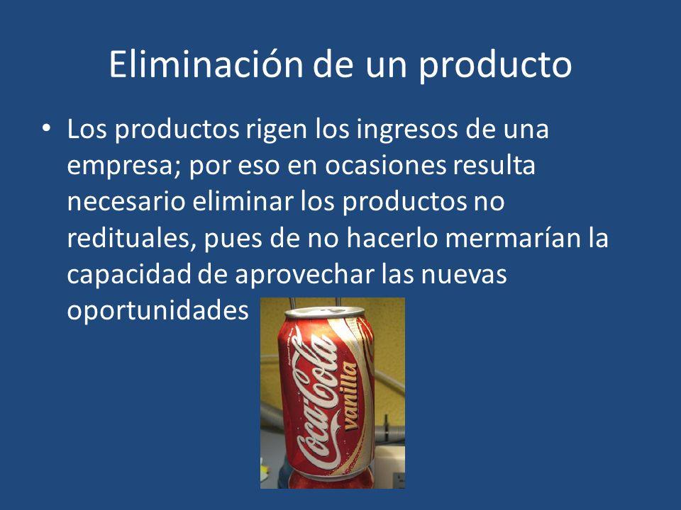 Eliminación de un producto Los productos rigen los ingresos de una empresa; por eso en ocasiones resulta necesario eliminar los productos no redituale