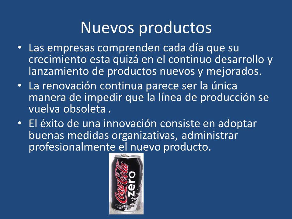 Nuevos productos Las empresas comprenden cada día que su crecimiento esta quizá en el continuo desarrollo y lanzamiento de productos nuevos y mejorado