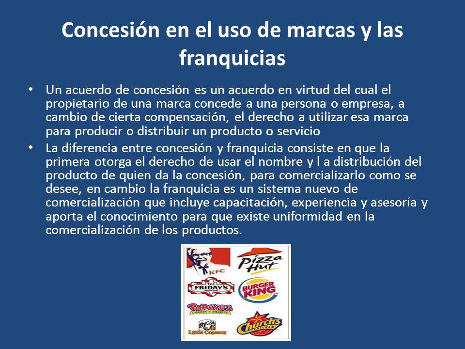 Concesión en el uso de marcas y las franquicias Un acuerdo de concesión es un acuerdo en virtud del cual el propietario de una marca concede a una per