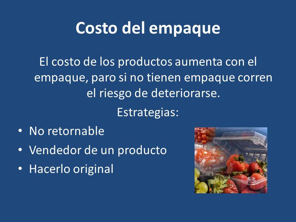 Costo del empaque El costo de los productos aumenta con el empaque, paro si no tienen empaque corren el riesgo de deteriorarse. Estrategias: No retorn