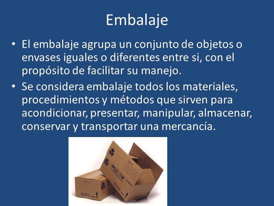 Embalaje El embalaje agrupa un conjunto de objetos o envases iguales o diferentes entre si, con el propósito de facilitar su manejo. Se considera emba