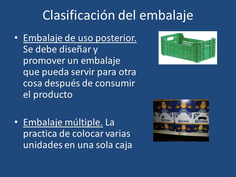 Clasificación del embalaje Embalaje de uso posterior. Se debe diseñar y promover un embalaje que pueda servir para otra cosa después de consumir el pr