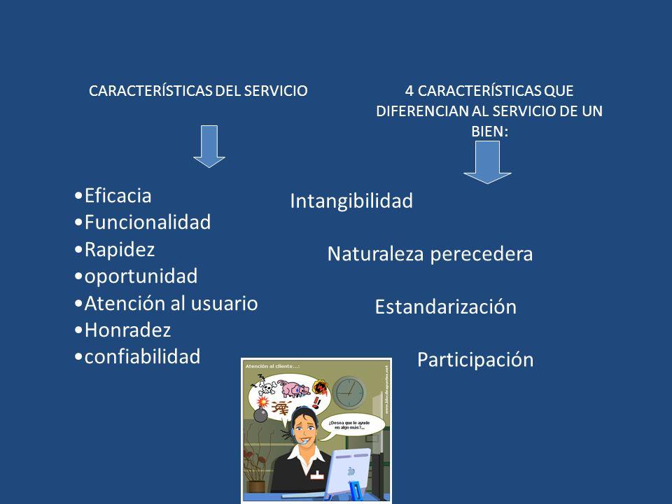 CARACTERÍSTICAS DEL SERVICIO Eficacia Funcionalidad Rapidez oportunidad Atención al usuario Honradez confiabilidad 4 CARACTERÍSTICAS QUE DIFERENCIAN A