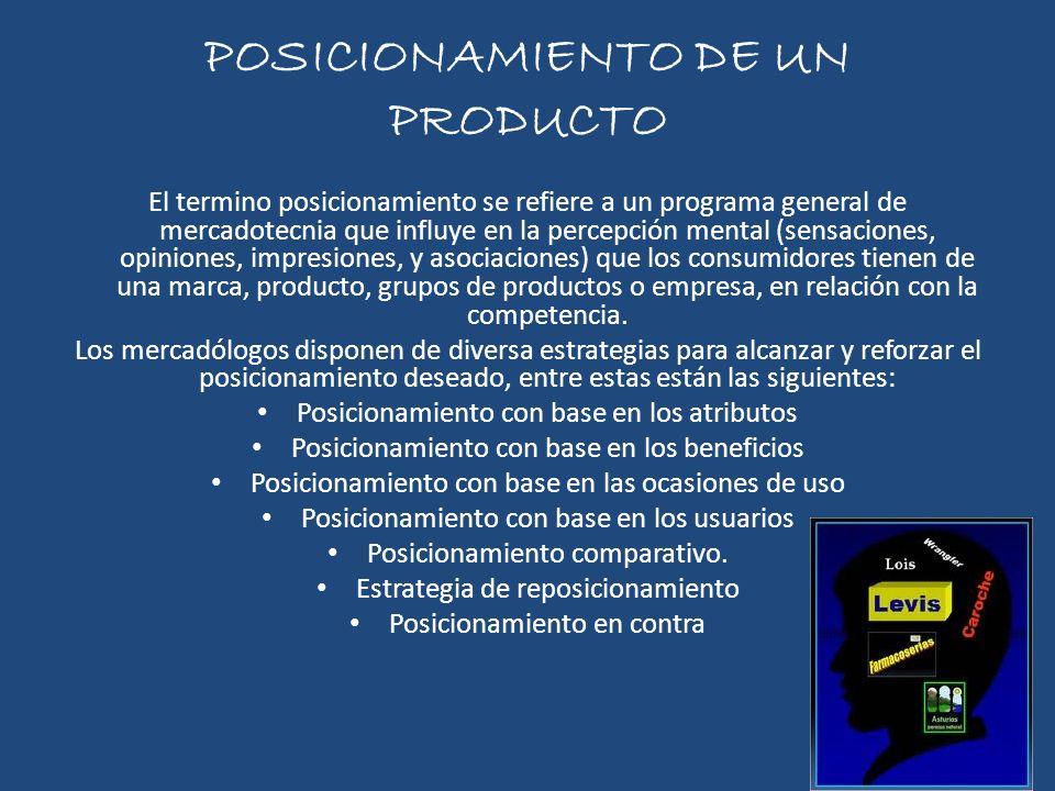 POSICIONAMIENTO DE UN PRODUCTO El termino posicionamiento se refiere a un programa general de mercadotecnia que influye en la percepción mental (sensa