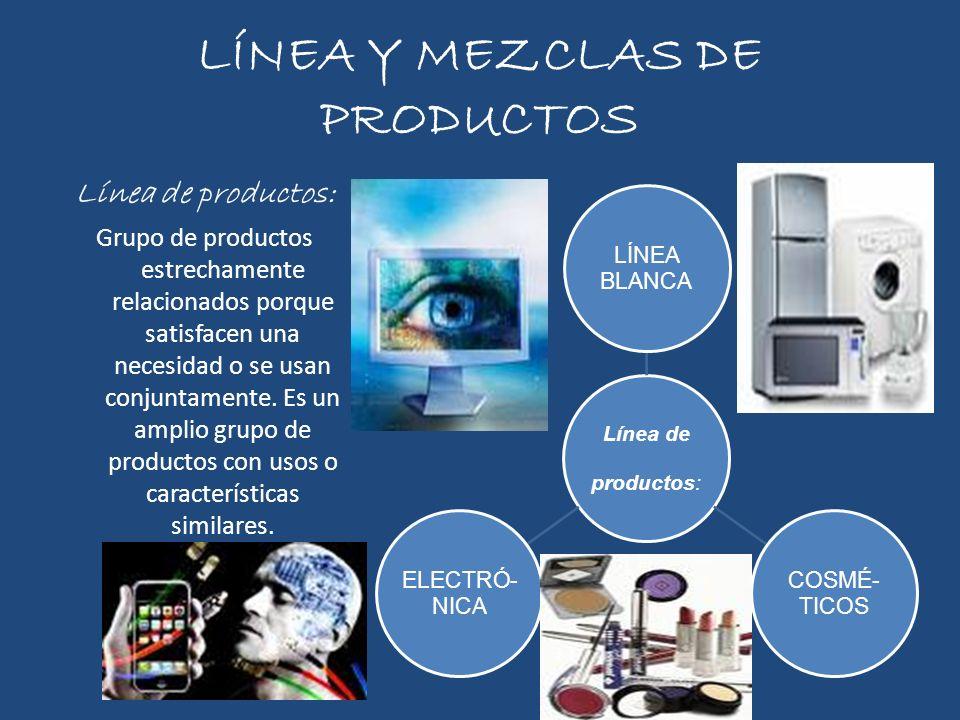 LÍNEA Y MEZCLAS DE PRODUCTOS Línea de productos: Grupo de productos estrechamente relacionados porque satisfacen una necesidad o se usan conjuntamente