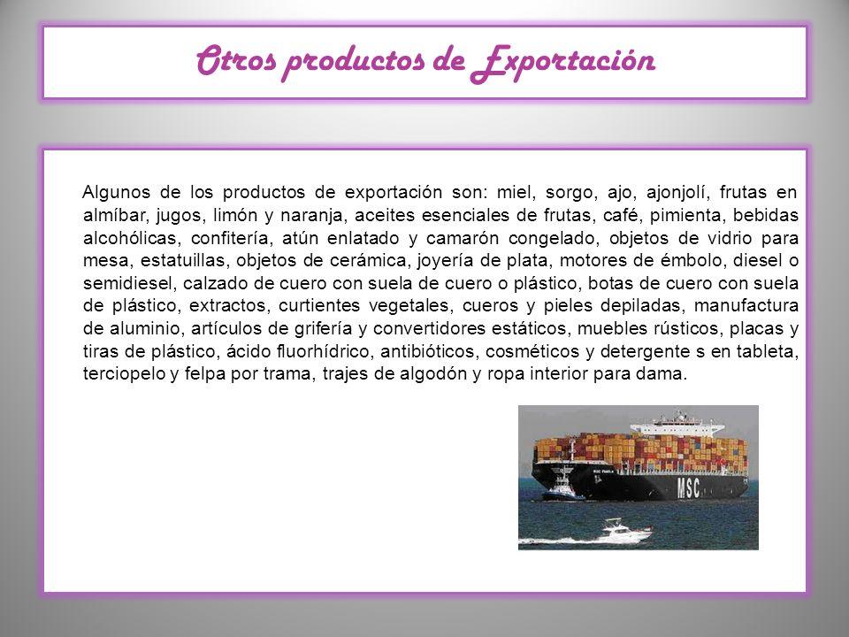 Otros productos de Exportación Algunos de los productos de exportación son: miel, sorgo, ajo, ajonjolí, frutas en almíbar, jugos, limón y naranja, ace