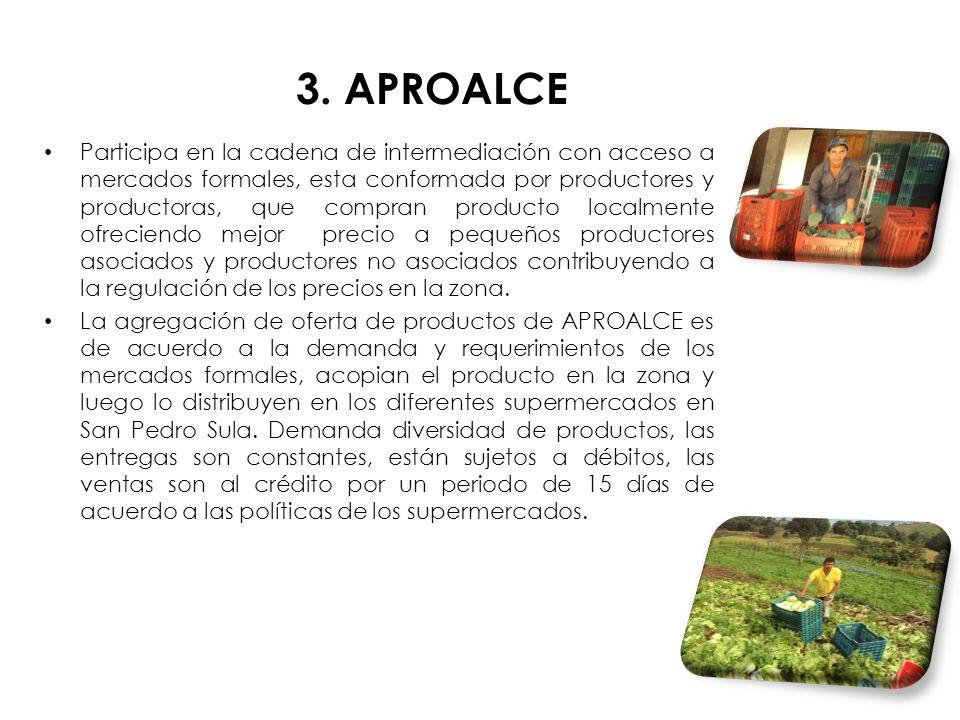3. APROALCE Participa en la cadena de intermediación con acceso a mercados formales, esta conformada por productores y productoras, que compran produc