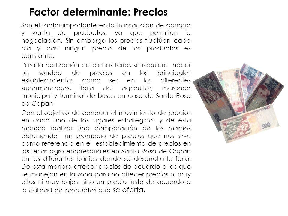 Factor determinante: Precios Son el factor importante en la transacción de compra y venta de productos, ya que permiten la negociación.
