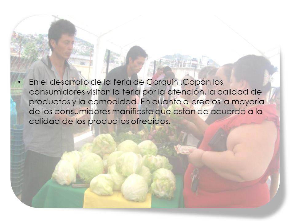 En el desarrollo de la feria de Corquín,Copán los consumidores visitan la feria por la atención, la calidad de productos y la comodidad.