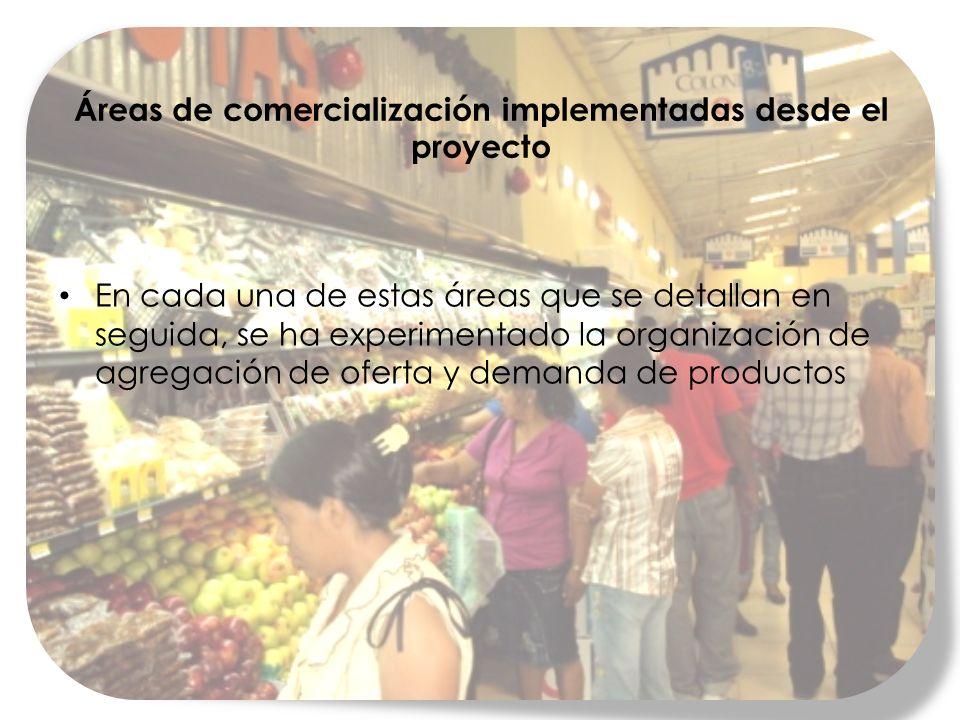 Áreas de comercialización implementadas desde el proyecto En cada una de estas áreas que se detallan en seguida, se ha experimentado la organización de agregación de oferta y demanda de productos
