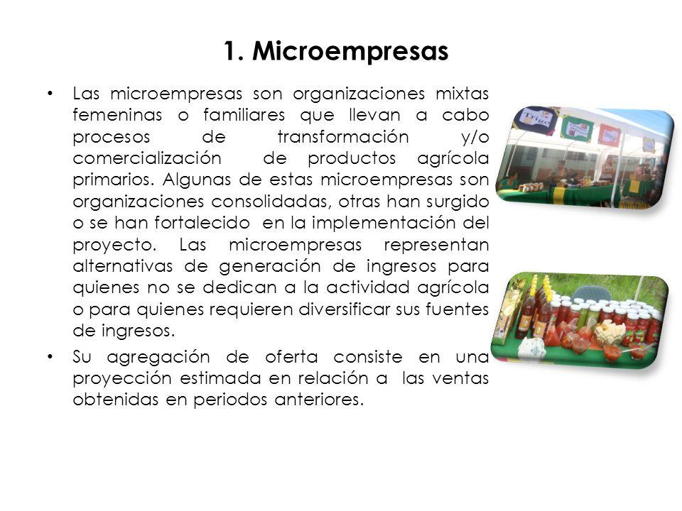 1. Microempresas Las microempresas son organizaciones mixtas femeninas o familiares que llevan a cabo procesos de transformación y/o comercialización