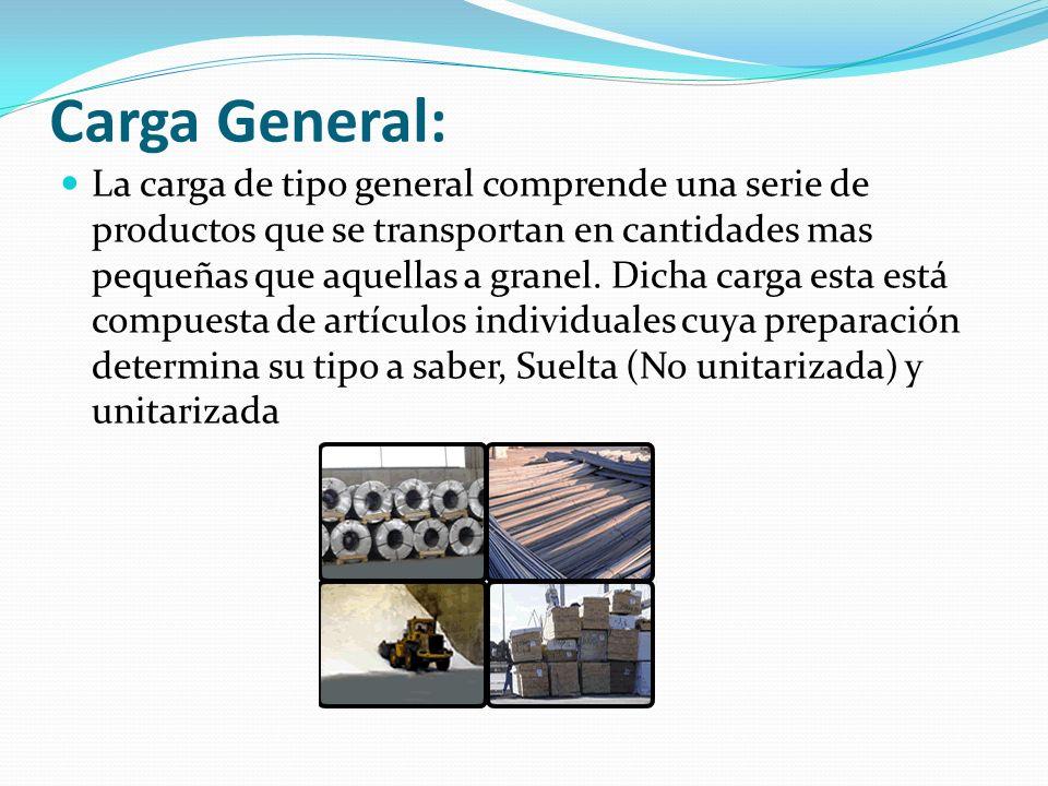 Carga General: La carga de tipo general comprende una serie de productos que se transportan en cantidades mas pequeñas que aquellas a granel. Dicha ca