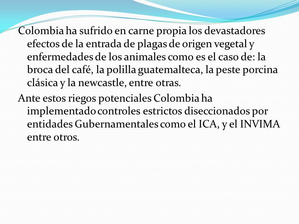 Colombia ha sufrido en carne propia los devastadores efectos de la entrada de plagas de origen vegetal y enfermedades de los animales como es el caso