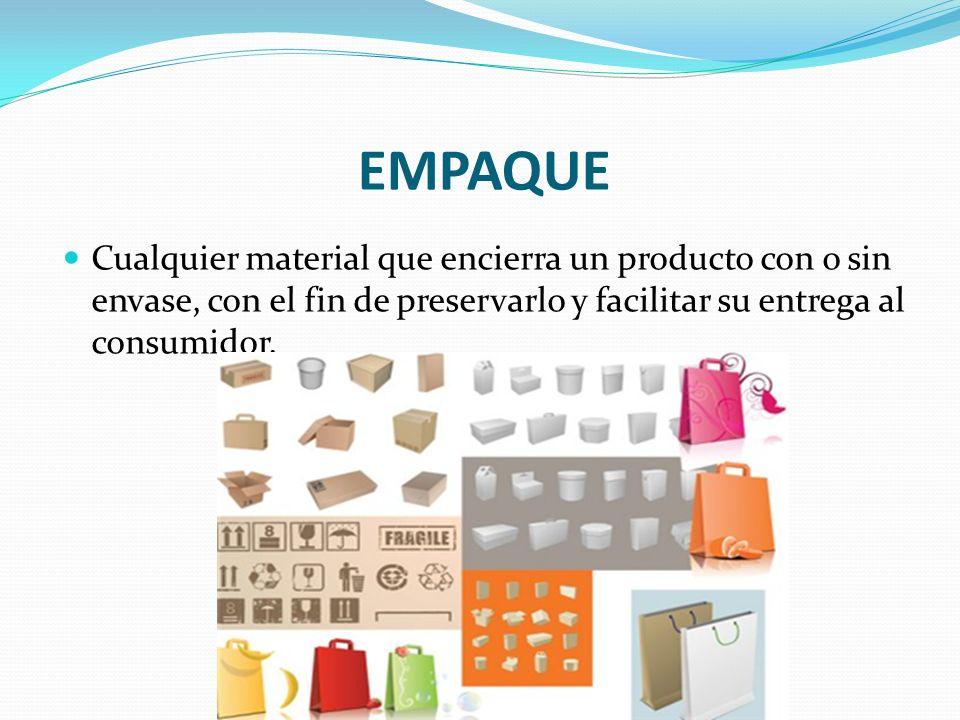 EMPAQUE Cualquier material que encierra un producto con o sin envase, con el fin de preservarlo y facilitar su entrega al consumidor.